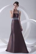 Halter Wraped Ruched Taffeta Formal Bridesmaid Dress
