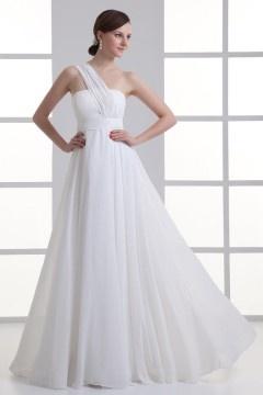 Robe de cérémonie blanche longue asymétrique en mousseline