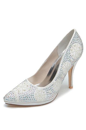 Elegant Rhinestone Satin Wedding High Heels