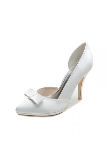 Chic Satin White 10cm High Heels With Bow For Brides