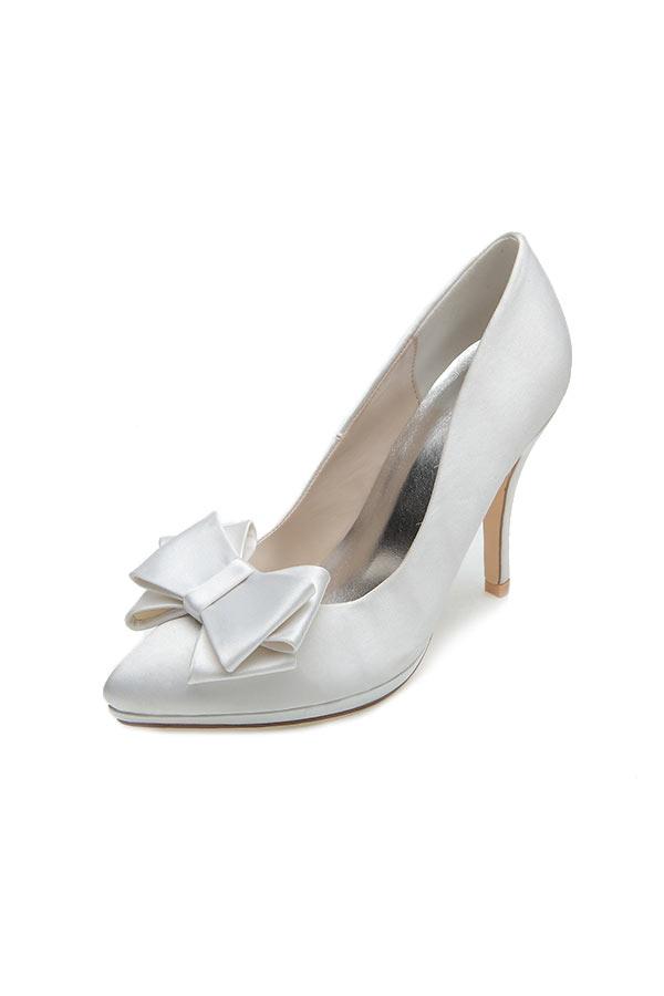 10 cm weiße Schuh mit Schleif