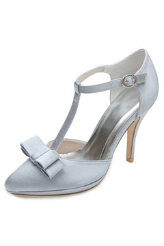 Elegant Satin T-Straps Wedding Pumps