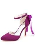 Escarpin pour mariage violet avec ruban en noeud papillon