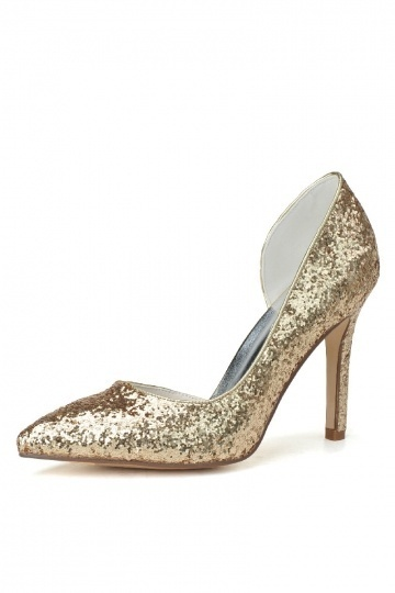 Dressesmall Sequins asymmetric gold evening pumps