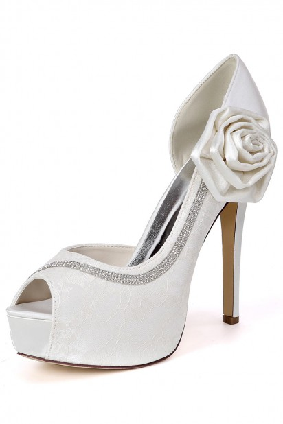 Dressesmall Beautiful Lace Bow Rhinestones Bridal Pumps