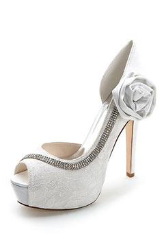 Escarpins pour mariage bout ouvert dentelle strass fleur