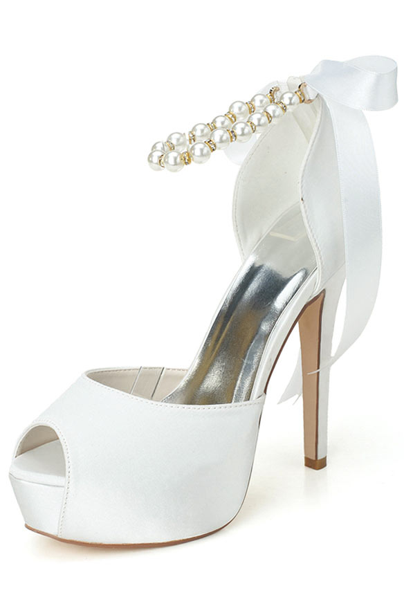 Öffene Zehenpartie weiße Schuh perlen verziert aus Satin mit 700g