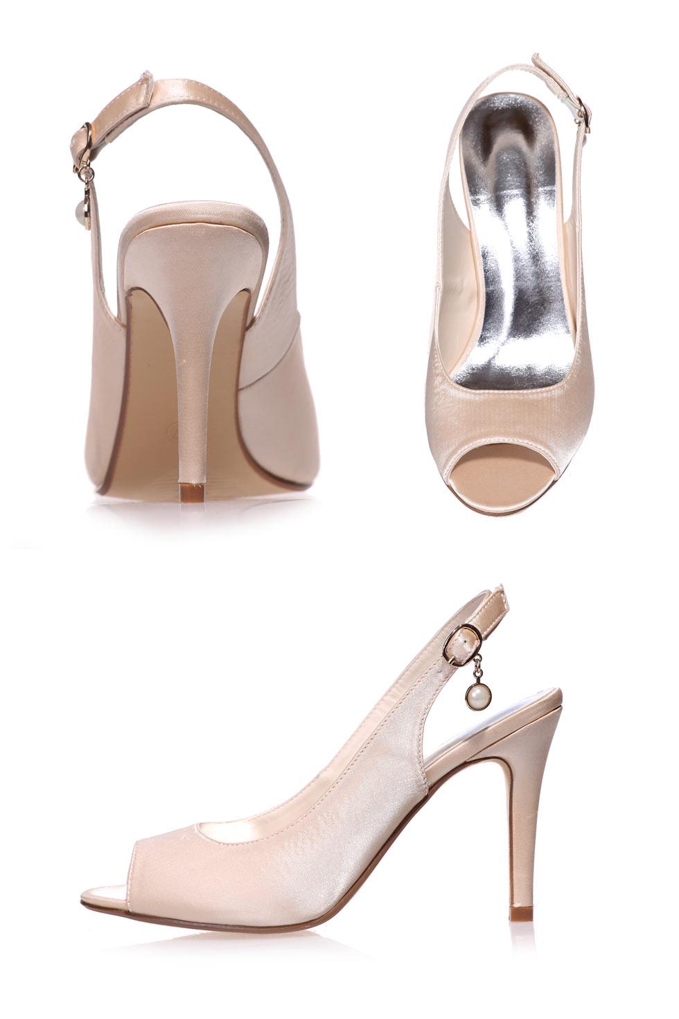 escarpin talon decouvert avec perle couleur nude champagne