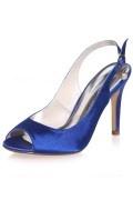 Escarpin bout & talon ouvert bleu royal pour la mariée