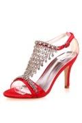 Sandales de soirée rouge ornées de strass