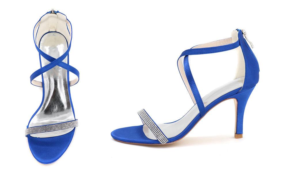sandales à talon lanière croisé bleu moyen