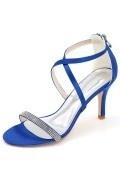 Sandales bleu royal sexy lanières croisées avec bande strass