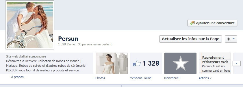 La capture d'écran de la page facebook du site Persun.fr