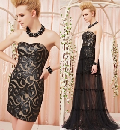 Robe cocktail mariage noir jupe semi transparent en tulle amovible