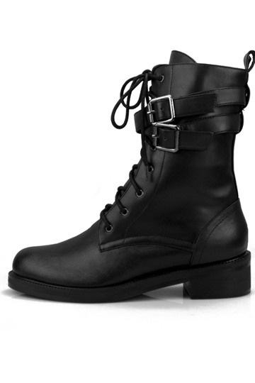 Halbschaftstiefel Klettverschluss und Schnürung Blockabsatz Stiefel Schwarze Persun