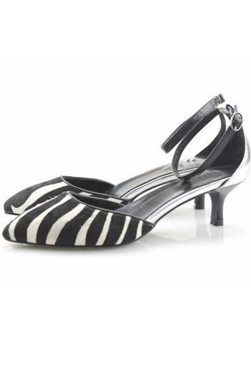 Edele Schwarze und Weiße Klettverschluss Stiletto Damen dünne Sandaletten Persun