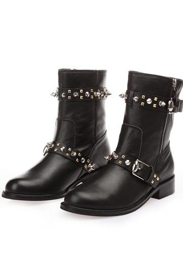 Klassisch Schwarze aus Leder Reißverschluss Halbschaftstiefel Damen Stiefel Persun