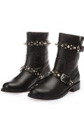 Klassisch Schwarze aus Leder Reißverschluss Halbschaftstiefel Damen Stiefel