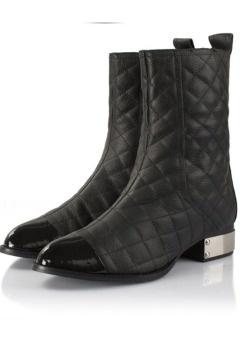 Bottines noires cuir plates zippées