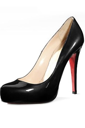 Beautiful Patent Hidden Platform Pumps Black