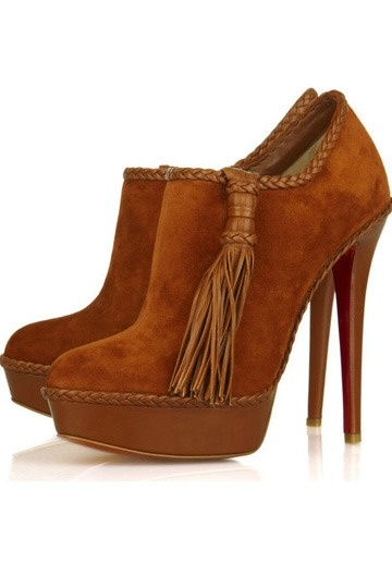 Leather Plait Edging Rust Sultane Suede Ankle Pumps
