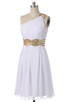 Solde robe de cocktail blanche courte asymétrique taille 42
