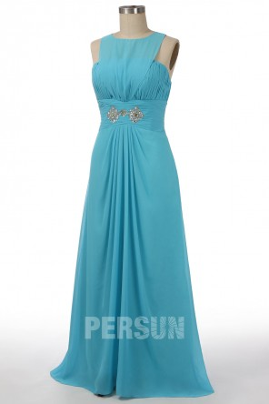 Soldes robe de soirée longue bleu turquoise empire taille 44 expédié en 24h