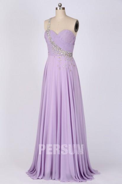 Soldes robe de soirée asymétrique longue lilas taille 34