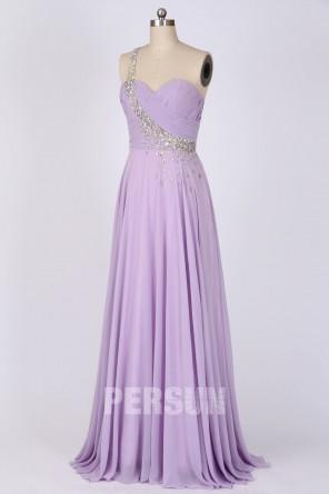Robe de soirée asymétrique longue lilas orné de strass