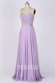 Solde robe de soirée asymétrique longue lilas taille 34