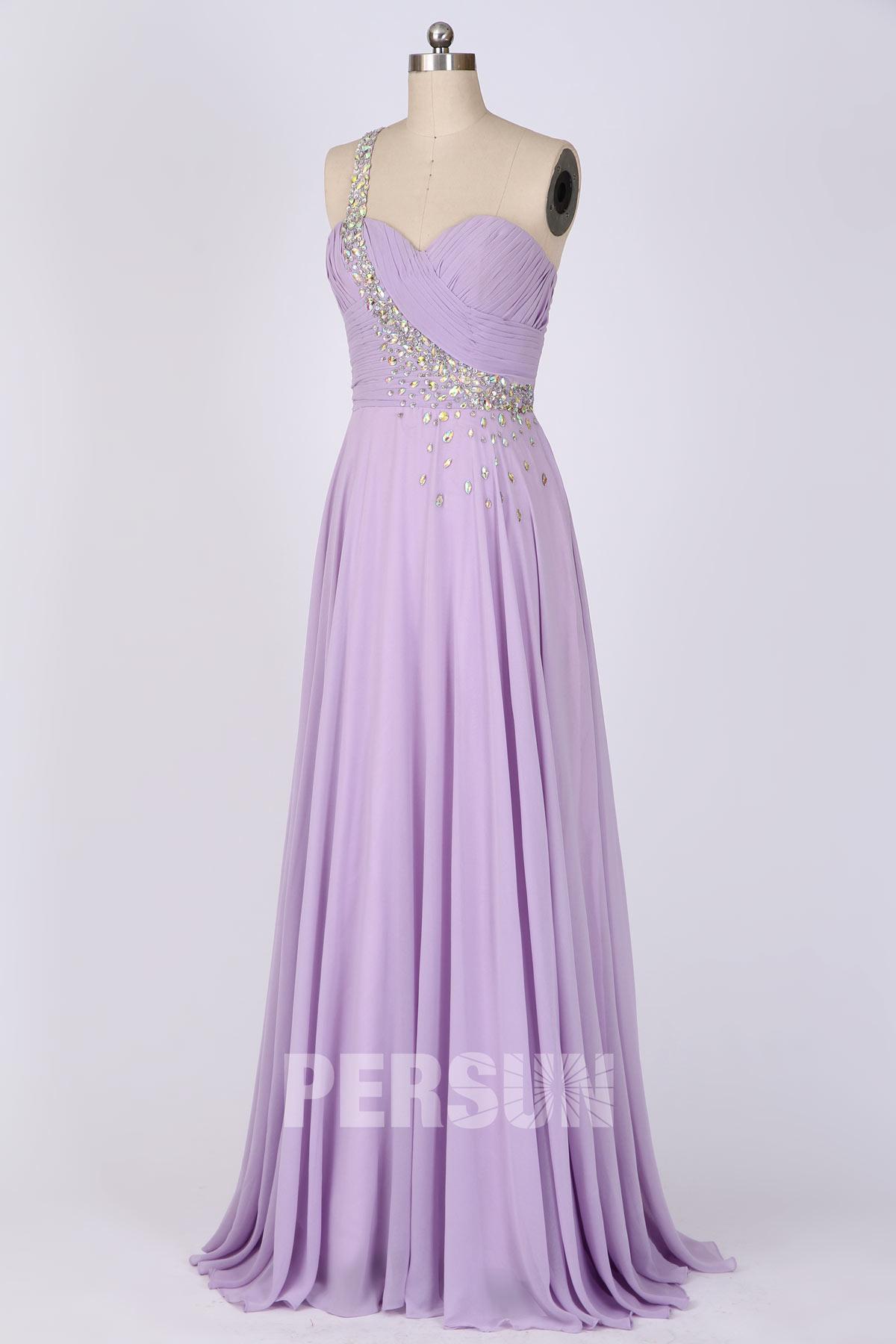 Robe demoiselle d'honneur asymétrique longue lilas orné de strass