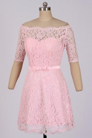 Soldes robe de cocktail rose épaules nues taille 38