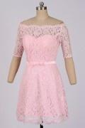 Solde robe de cocktail rose épaules nues taille 38