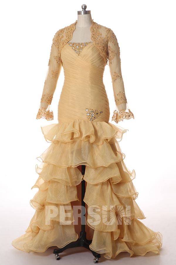 Soldes robe de bal dorée avec boléro taille 38