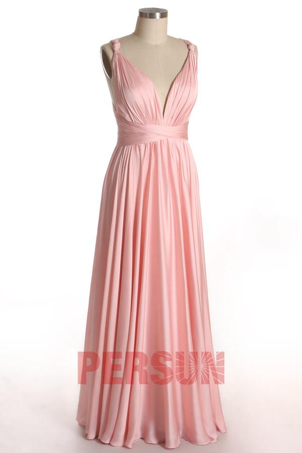 robe de soirée longue chic en mousseline satinée rose poudré