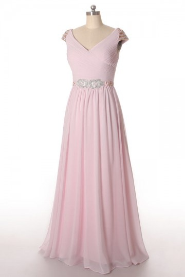 Soldes robe demoiselle d'honneur rose pastel longue expédié en 24H