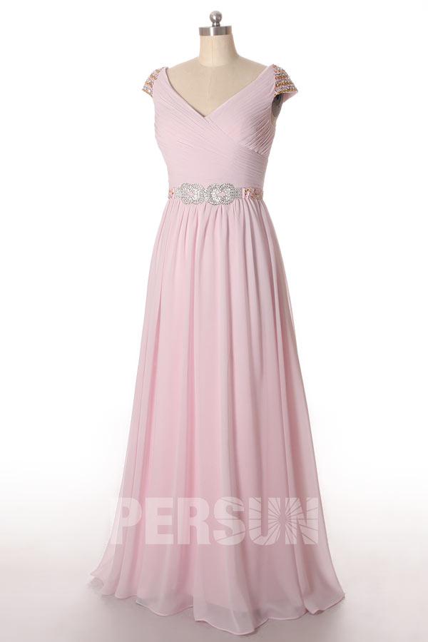 robe de soirée rose pastel col v avec manche courte embelli de strass