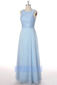 Soldes robe de soirée longue en mousseline azurin taille 34