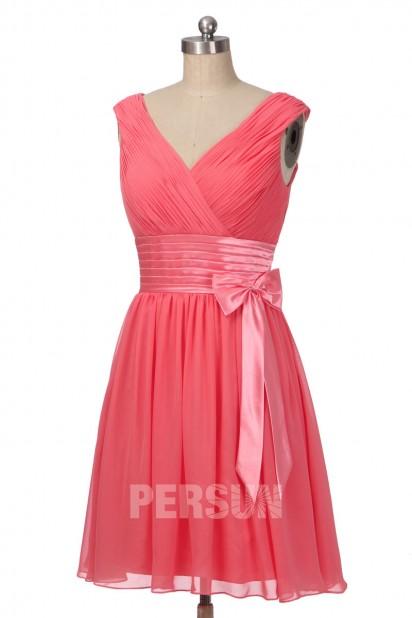 Soldes petite robe corail pastèque pour mariage taille 40