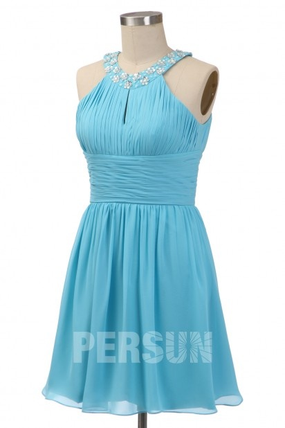Soldes robe de cocktail bleu turquoise taille 44