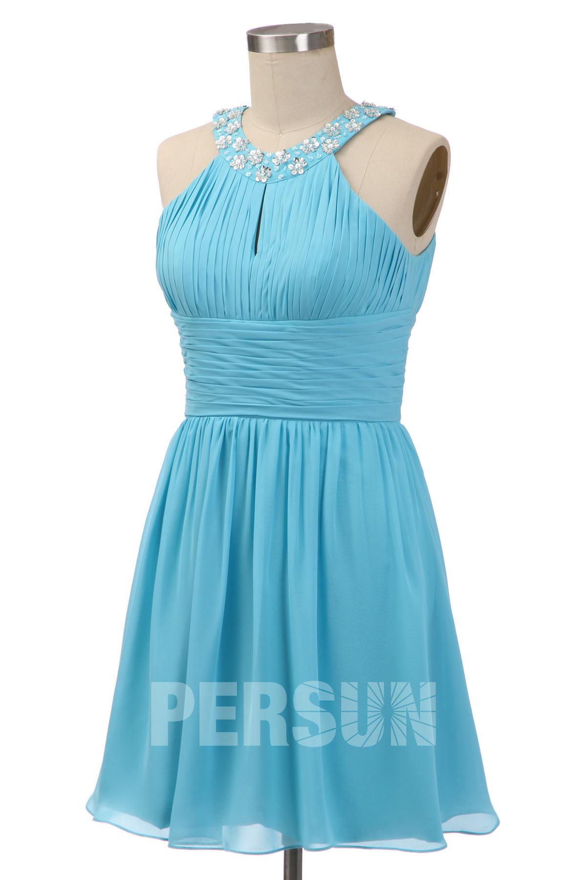 Soldes robe de cocktail bleu turquoise taille 44