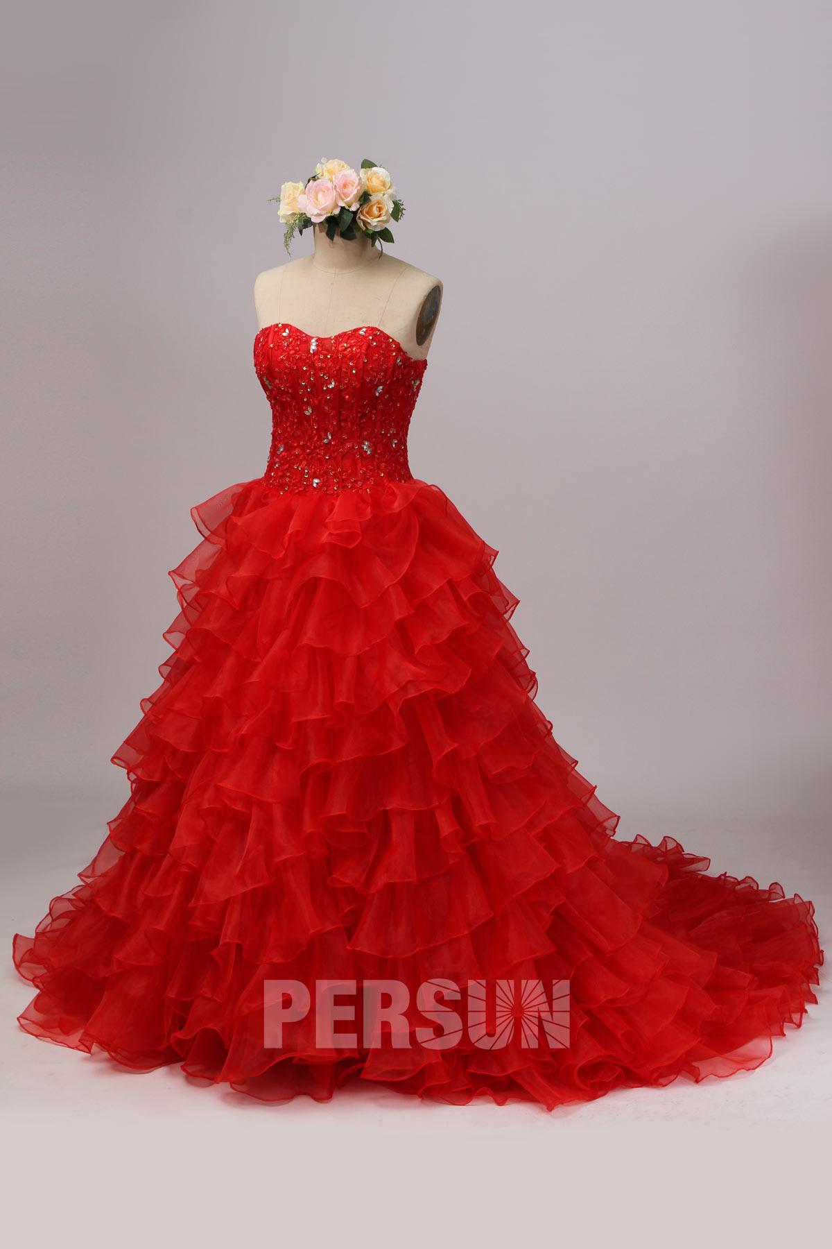 Soldes robe de mariée rouge taille 40 dos laçage expédié en 24H