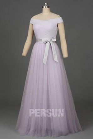 Soldes robe de soirée longue lilas clair épaules dénudées taille 38 expédié en 24h