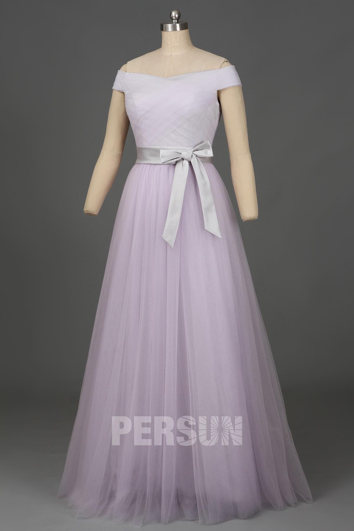 Soldes robe de soirée longue lilas clair épaules dénudées taille 38