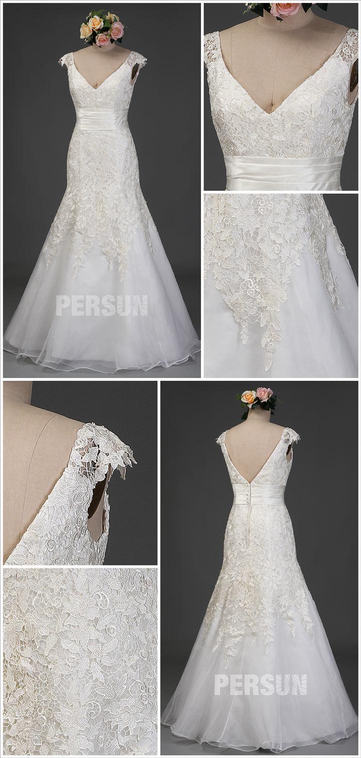 robe de mariée trompette décolleté V embelli de guipure