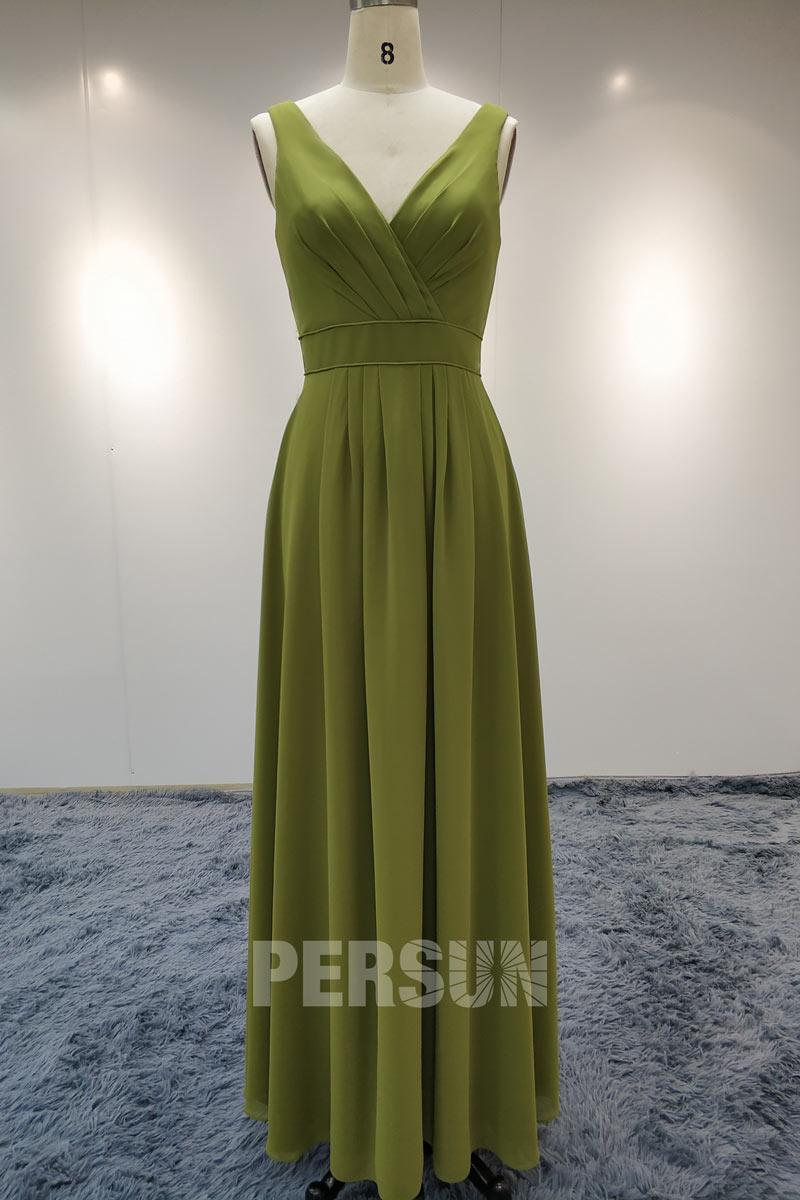 robe demoiselle d'honneur vert kaki longue décolleté v drapé