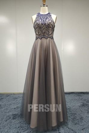 Robe de gala chic gris rose bustier brodé de bijoux pas cher