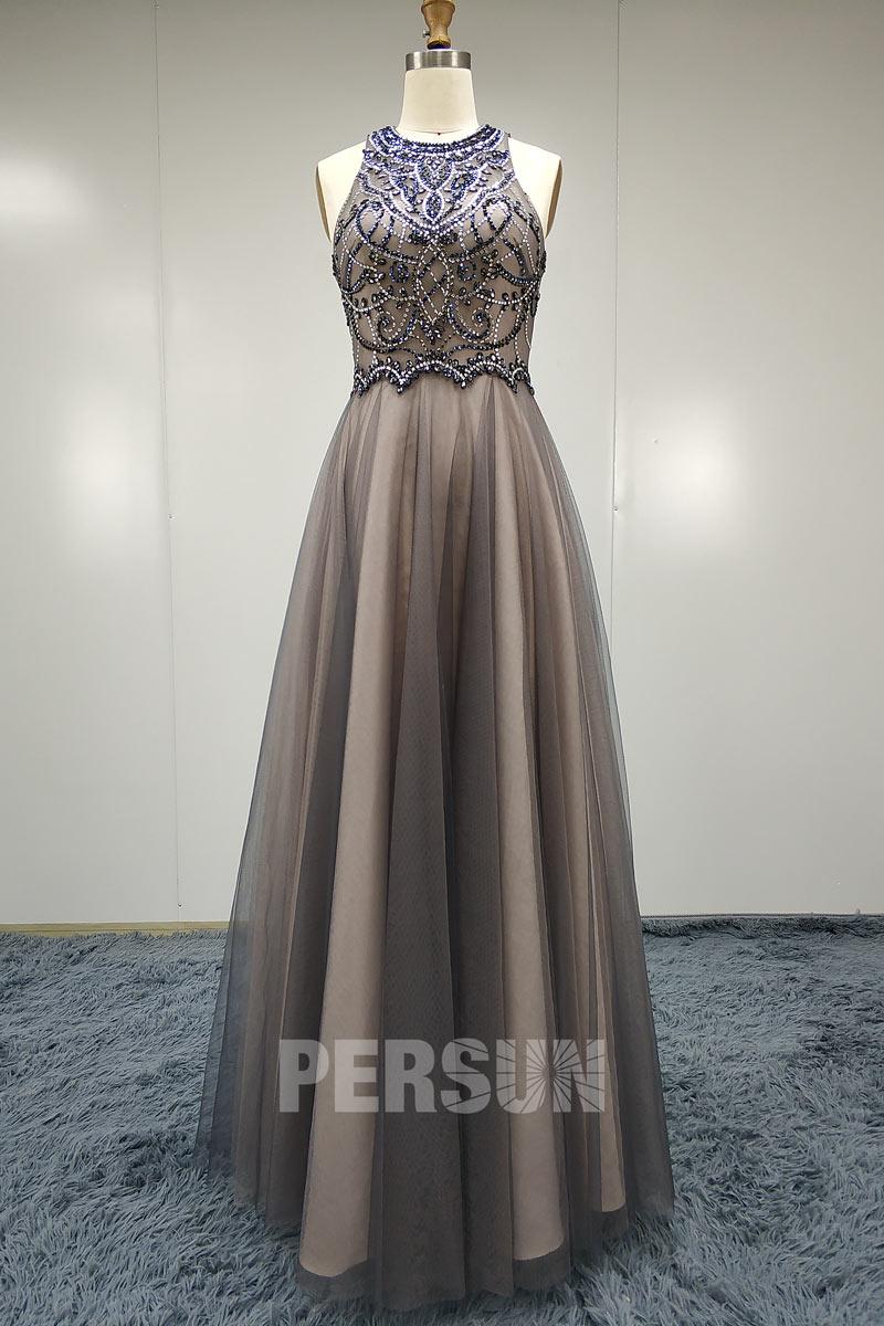 robe de soirée longue chic gris rose bustier brodé de bijoux pas cher