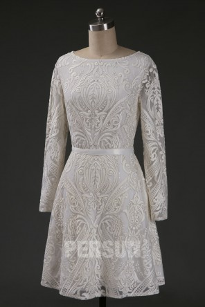 Robe de cocktail ivoire vintage en dentelle manche longue jupe ligne A