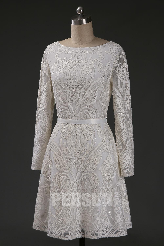 robe de mariée courte dentelle brodé manches longues